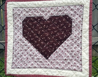 Floral Deep Burgundy Heart Patchwork Mini Quilt, Quilted Wall Hanging Remove the Wooden Dowel and make it a Candle Mat, Snack Mat or Mug Rug