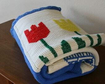 Vintage Large Granny Blanket, Tulip, Dutch Motif, Windmill,