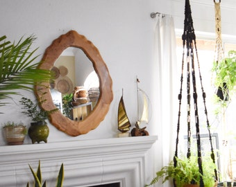 gorgeous large burl wood wall hanging oval mirror