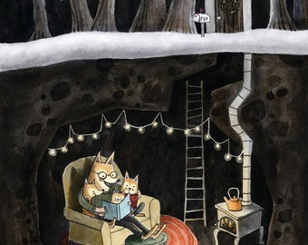 Reading Together Fox Den print with mat