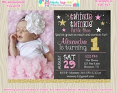 Twinkle Twinkle Little Star First birthday invitation invite pink and gold little star 1st birthday invitation Photo Chalkboard Printable