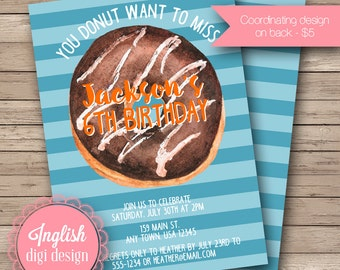 Donut Birthday Party Invitation, Watercolor Donut Birthday Party Invite, Donut Invitation - Donut Party in Shades of Blue, Orange, Brown