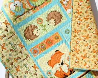 Baby Quilt Hooty Hoot Hooray Animals Nursery Decor Woodland Fox Owls Hedgehogs Forest Gender Neutral Boy or Girl Bedding Handmade Quilt