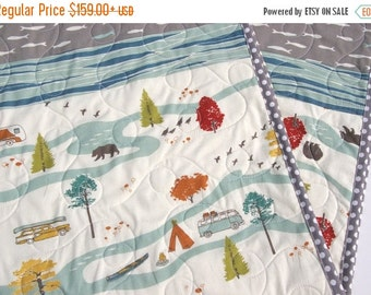 Quilt, Organic Boy, Fishing Baby, Bear Woodland Animals, Camping Fish Hiking, Outdoor Forest Nature Scene, Birch Feather River Crib Bedding