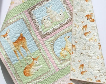 Forest Baby Quilt, Girl Baby Bedding Nursery Blanket Toddler Bedding Woodland Nursery Fox Deer Hedgehog Duck Pastel Pink Blue Green Woodland