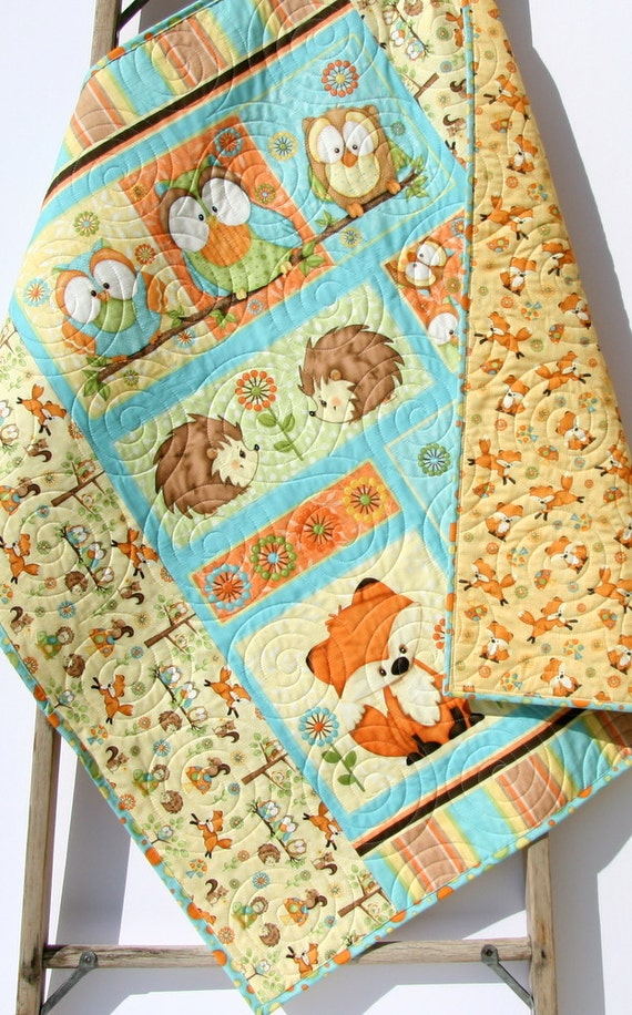Baby Quilt Hooty Hoot Hooray Animals Nursery Decor Woodland