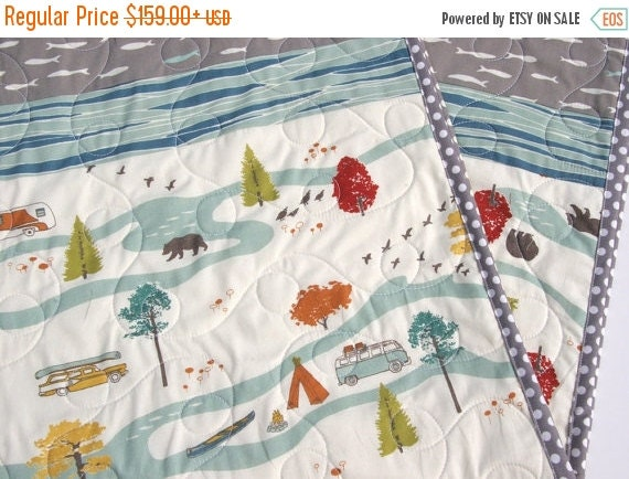 Quilt Organic Boy Fishing Baby Bear Woodland By