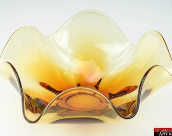 Mid Century Fluted Ruffled Hand Blown Amber Brown Art Glass Centerpiece Bowl