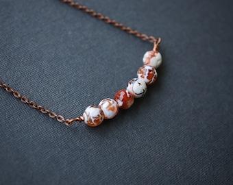 Fire Agate Necklace, Copper Necklace, Antique Copper Necklace, Gemstone Necklace, Agate Necklace, Orange Necklace