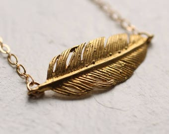 Gold Feather Necklace ... Boho Pendant Festival Vintage Bib Statement
