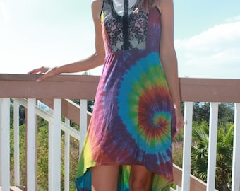 Tie Dye Hi Lo Poof Couture Dress | Size Large