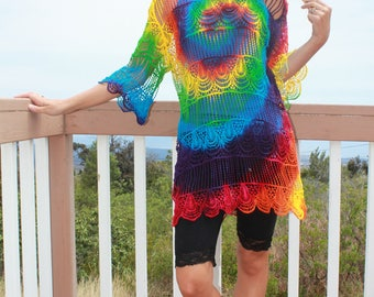 Tie Dye Long Crochet Top | Swim Cover Up One size