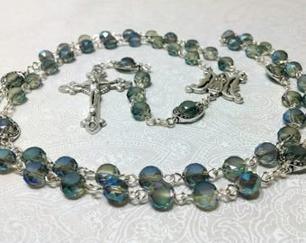 Pale Green Faceted Five Decade Rosary in Silver