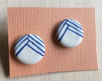 blue white porcelain earrings post sterling silver