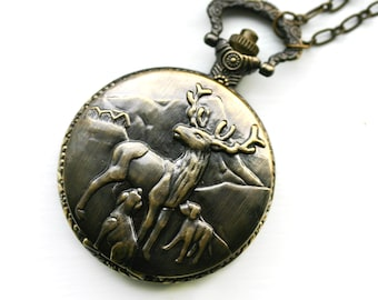 Deer Pocket Watch Necklace