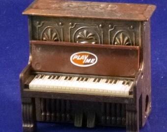 Vintage Play Me Piano Metal Diecast Pencil Sharpener, 1970s