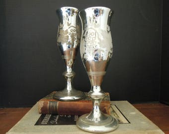 Vintage Mercury Glass Wine Goblets / Vases / Large Candle Holders / Grape Design / Wedding Gift / Champagne