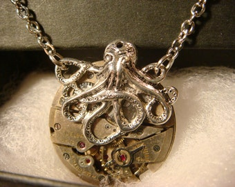 Steampunk Octopus Necklace on Vintage Watch Movement with Exposed Gears - Neo Victorian-Upcycled- (2226)