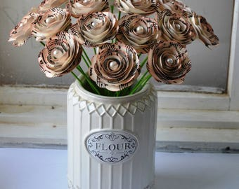 Romantic Music Inspired Paper Rose Bouquet  Antiqued Spiral Flowers