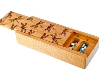 Dragonfly Pattern Cherry Vitamin Box, V15, Days of the Week, Wooden Pill Box, Medium Depth, Paul Szewc, Masterpiece Laser