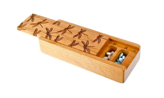 Dragonfly Pattern Cherry Vitamin Box, V15, Days of the Week, Wooden Pill Box, Medium Depth, Paul Szewc, Masterpiece Laser