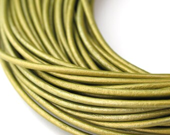 LRD0120054) 2.0mm Tota Genuine Metallic Round Leather Cord.  1 meter, 3 meters, 5 meters, 10 meters, 21.35 meters.  Length Available.