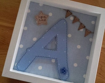 Personalised Box Frame Wooden Large Letter Christening new baby