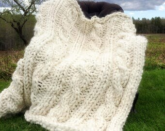 Super Chunky Alpaca Afghan with Cables Knitting Pattern