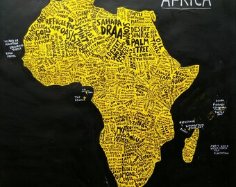 """AFRICA MAP, ORIGINAL art work, hand lettered, lettering, acrylic paint ink, 20"""" X 20"""", African countries"""