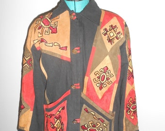Vintage 1990s YAK MAGIK beaded leather & cotton button-down collared jacket, size Medium