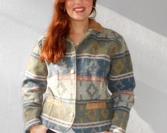 Vintage 1980s WOOLRICH wool & suede Native American-print jacket, size Medium