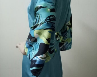 SALE Turquoise Floral Women Silk Robe Embroidered Bridesmaid Robes Cute Dressing Robe Kimono Bridal Shower Party Robes Night Dress Gown