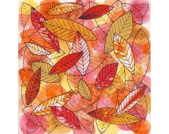 Fall leaves art print, red, orange, yellow, leaf collage, watercolor painting, ink drawing, sketchbook art, autumn color, bright wall decor
