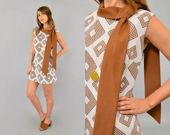 60's Geometric Mod Mini Dress