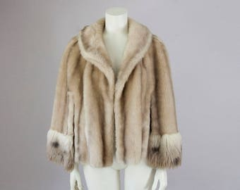 70s Vintage Tan Faux Fur Cape (XS, S, M)