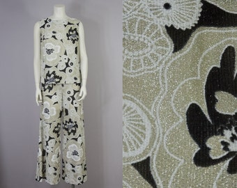 60s Vintage Gold Semi-Sheer Oversized Black & White Floral Print Blouse and High-Rise Flare Pant Set (M)
