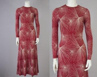 70s Vintage Diane Von Furstenberg Knit Maxi Flare Dress  (XS)