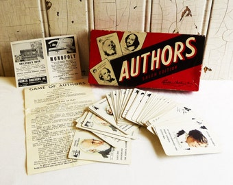 Vintage Parker Brothers Authors Card Game - Complete in Original Box - Salem Edition - Mid-Century 1940s - Dated 1943