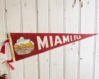 Vintage Miami Florida Souvenir Pennant - Miami Skyline, Ocean and Clouds - Mid-Century - 1940s or 1950s - Felt Pennant - Travel Souvenir