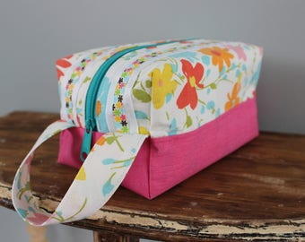 Upcycled Bright Pink Floral Zippered Toiletry Bag