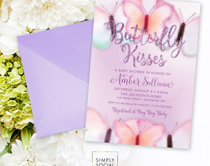 Purple Butterfly Baby Shower Invitation - Purple Faux Glitter Boho Butterfly Kisses It's a Girl Printable Party Invite