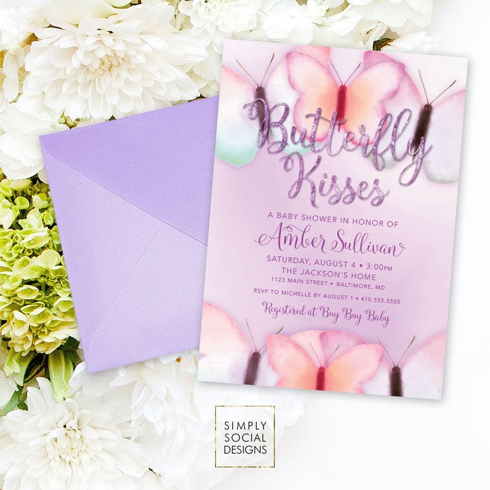 Purple Butterfly Baby Shower Invitation - Purple Faux Glitter Boho ...