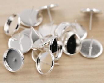 14mm Silver Tone Brass Earring Tray Settings, Earring Backs INCLUDED