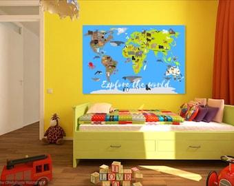 World Map decal, Kids world map, Animal world map, classroom decor, Nursery decor, Kids room map, Kids wall art, Big children map, map art