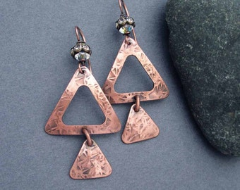 Rustic Copper Triangle Earrings with Swarovski Crystals Ancient Egyptian Jewelry Modern Copper Anniversary Earrings 7th Anniversary Gift