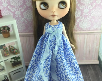 Blythe Angel Dress - Blue and White
