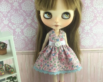 Blythe Party Dress - Pink and Blue Floral