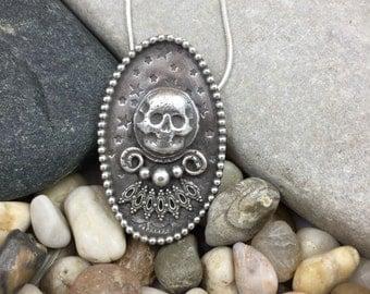 Sterling silver skull pendant, crystal ball pendant, fortune teller necklace