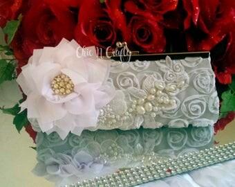 WHITE Satin Rosette Bridesmaid Clutch / Bridal clutch / Prom Clutch