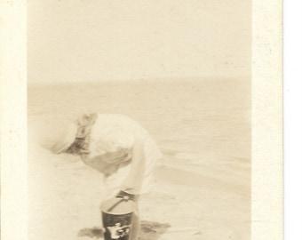 Looking for Sea Shells Vintage snapshot photograph